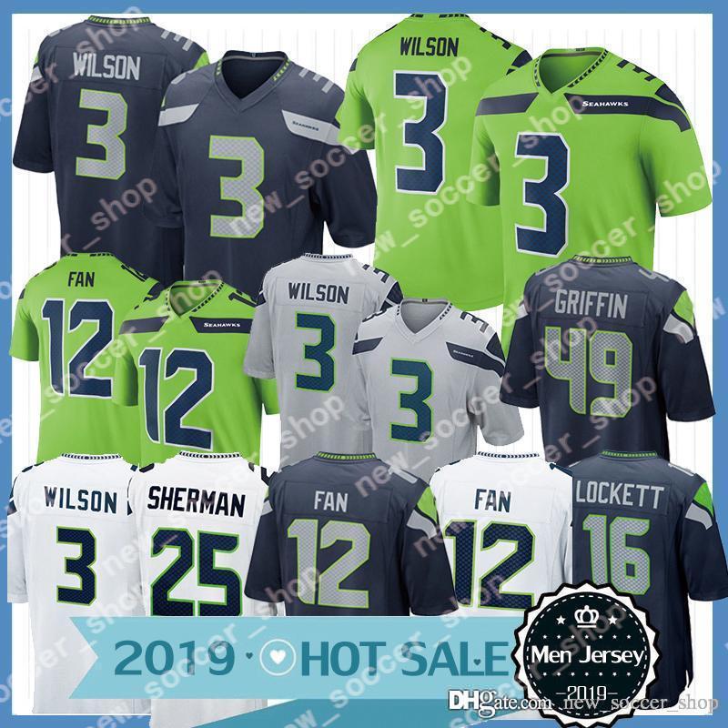 uk availability 84516 23d72 Seahawks Jersey 3 Russell Wilson Jersey Seattle 49 Shaquem Griffin 20  Rashaad Penny 12 Fan 31 Kam Chancellor 54 Wagner Mens Jerseys 2019