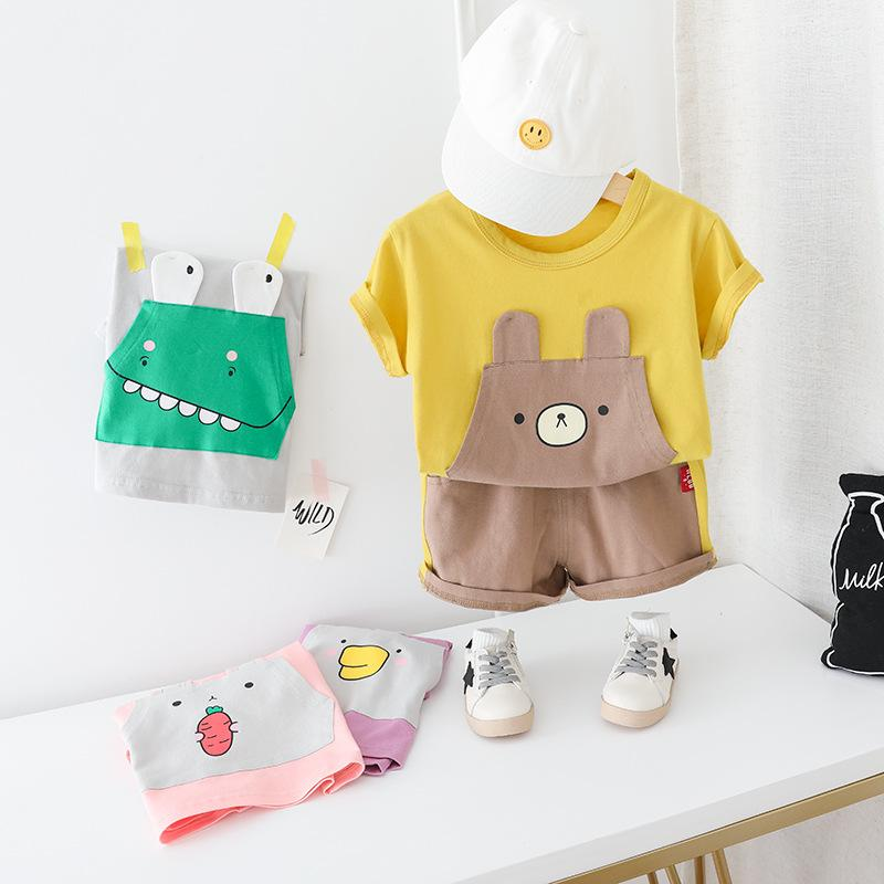 ZJZY01 Summer New Children's Wear Korean Children's Suit Boys and Girls Short-sleeved Shorts