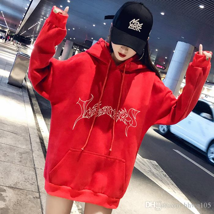 ea9de4c0e1b4 2019 Vetements Hoodie Black Red Women Men Hip Hop Hoodie Clothing Vetements Logo  Print Hooded Sweatshirt Skateboard Pullover Top Coat YJH1118 From Hhwq105