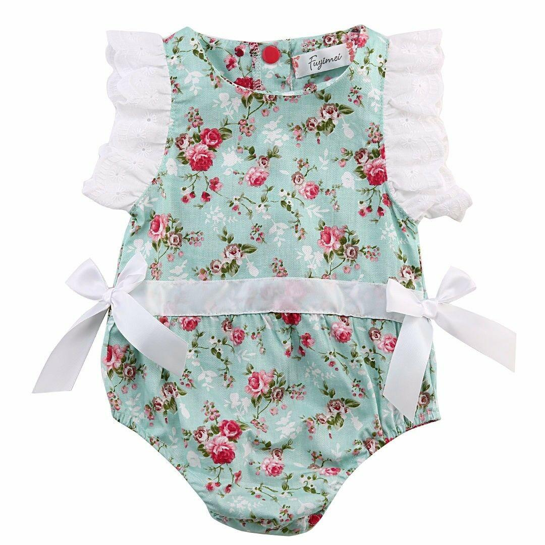 041669a97 2019 Toddler Baby Girls Floral Rompers Chic Lace Sleeve Side Summer ...