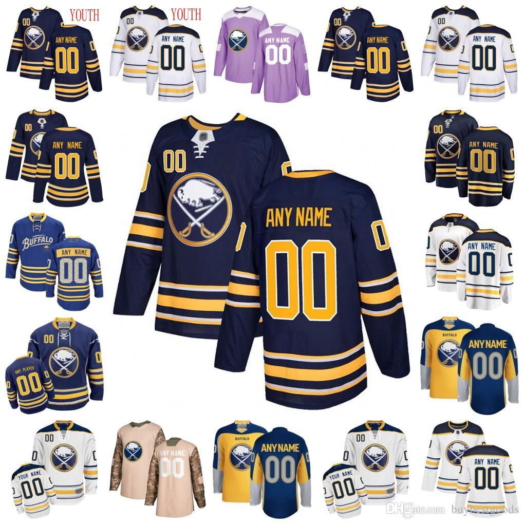 new concept 7be1e 84adf Custom Buffalo Sabres Jersey 55 Rasmus Ristolainen 29 Jason Pominville 63  Tyler Ennis 28 Zemgus Girgensons Hockey Jerseys Men Women Youth