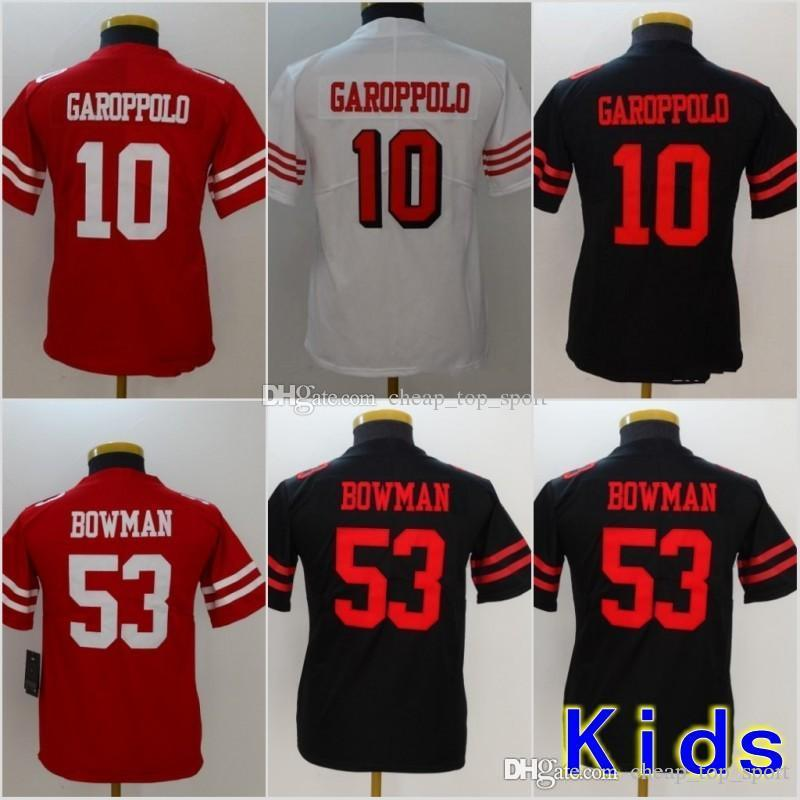 newest c23c9 4325b Youth San Francisco Jerseys 10 Jimmy Garoppolo 49ers 53 NaVorro Bowman  Black White Red Stitched Kids Size S-XL