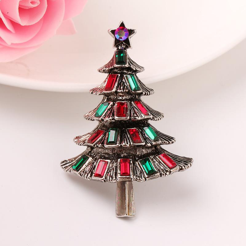 Crystal Christmas Ornaments.Retro Crystal Christmas Tree Delicate Brooch Originality Gift Exquisite Pin Ornaments Parts