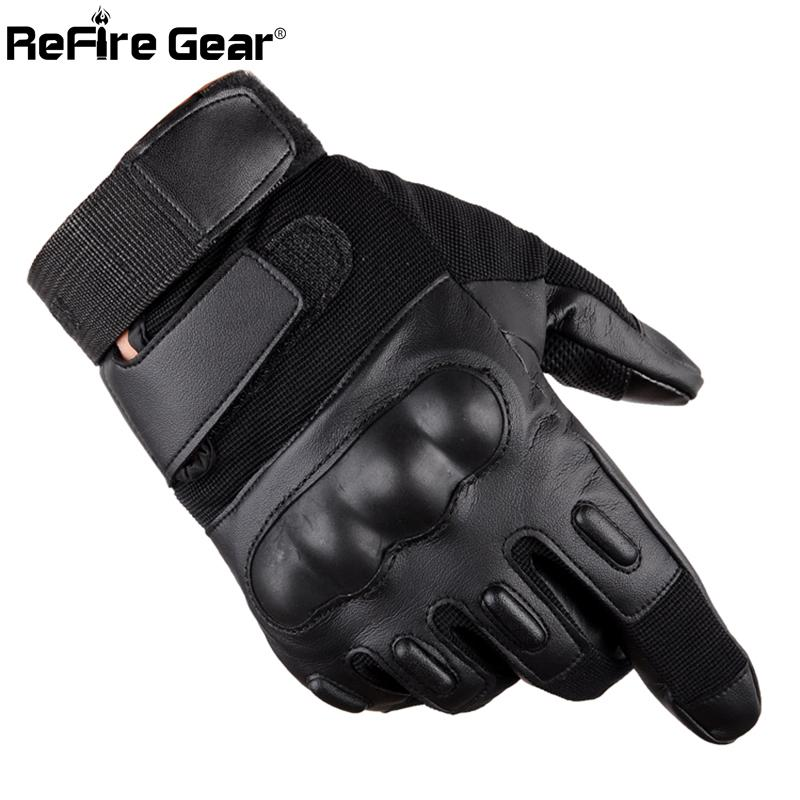 ReFire Gear Full Finger PU Leather Tactical Gloves Men SWAT Forces Army Gloves Shell Knuckle Combat Fight Bicycle Glove
