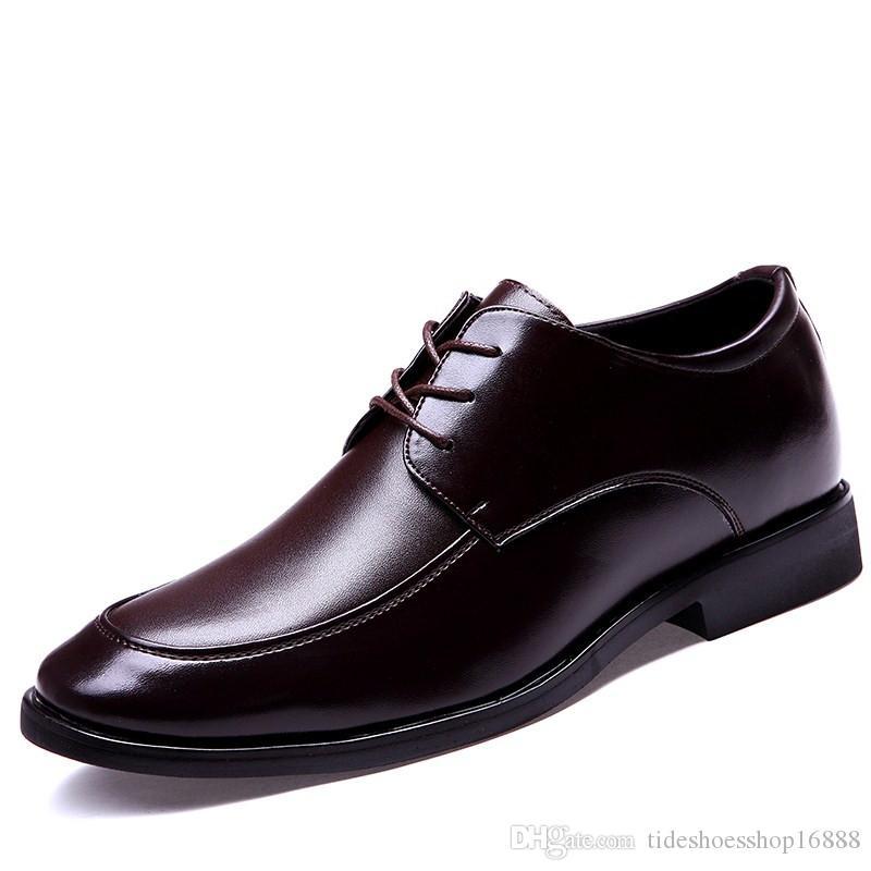 Height Increasing Brown Men Dress Shoes Genuine Leather Mens Formal ... 1ce71881bdd3