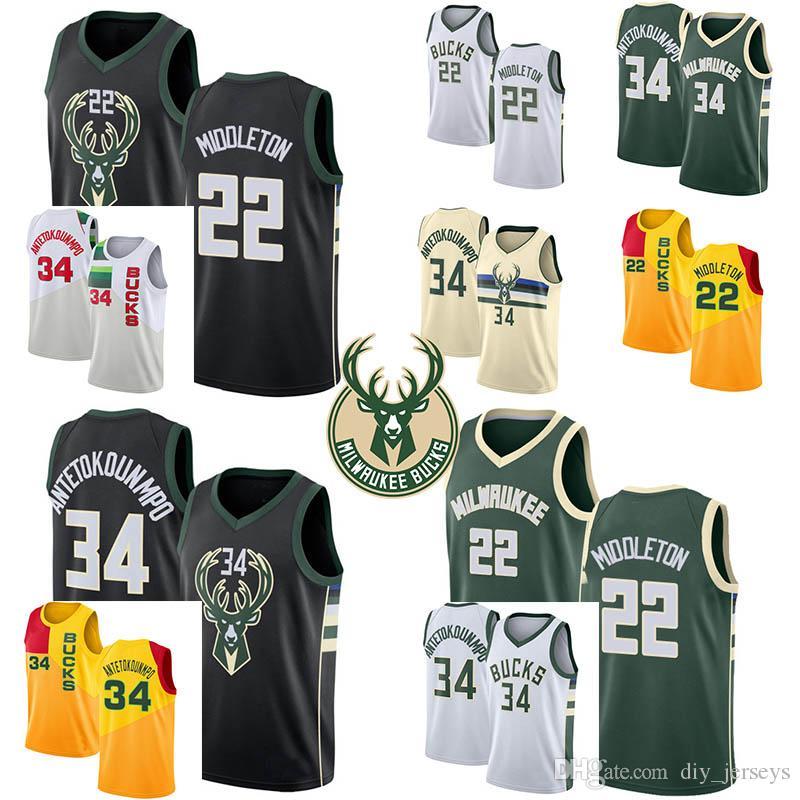 uk availability 8cff1 d6d92 2019 Hot Sale Milwaukee 22 Middleton Bucks 34 Antetokounmpo White Black  Green Cool Breathable Jersey Mens