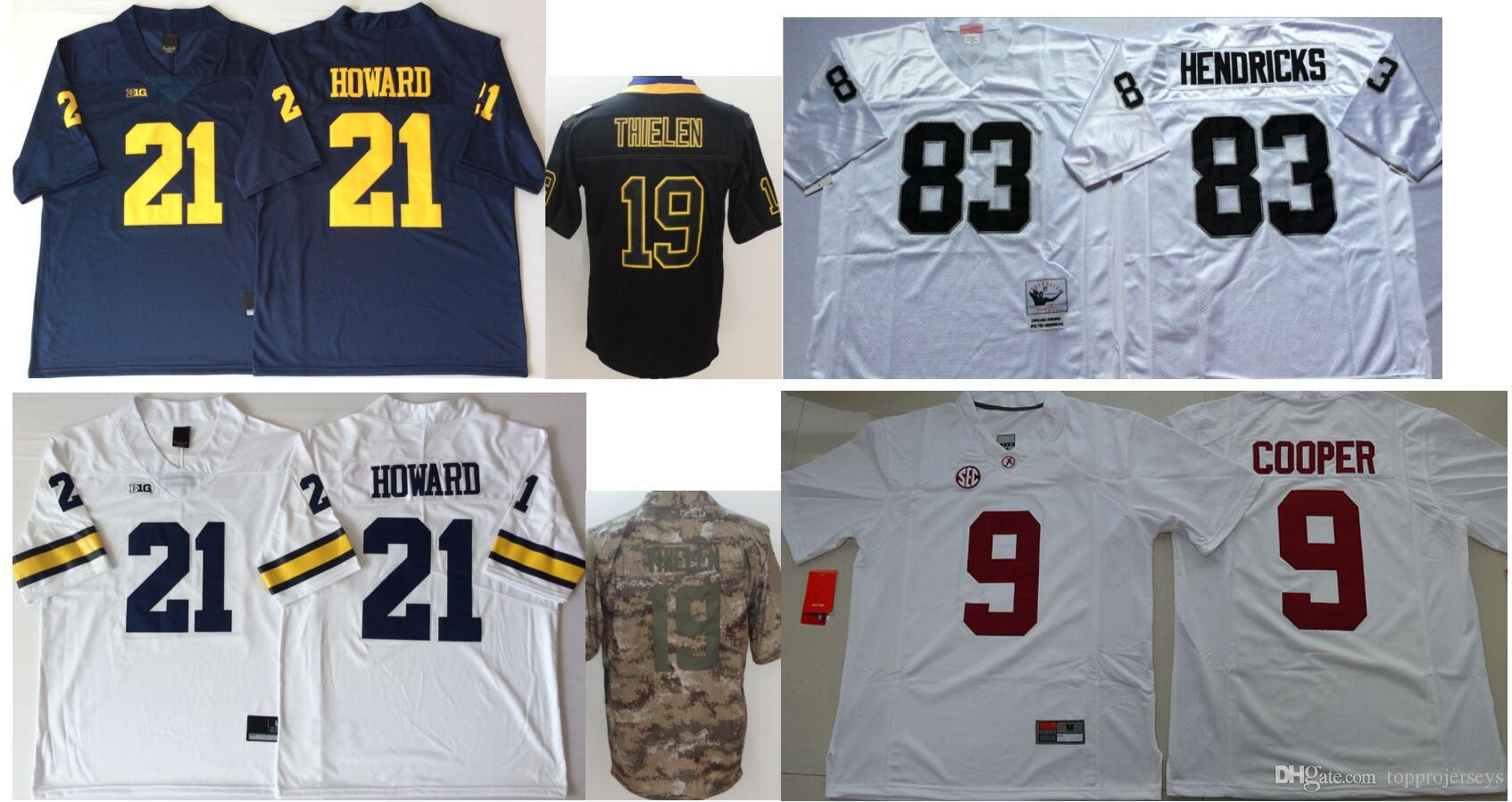 huge discount 7244a a9a6c Michigan Wolverines #21 Desmond Howard Mens Vintage College Minnesota 19  Adam Thielen 83 Ted Hendricks Color Rush American Football Jerseys
