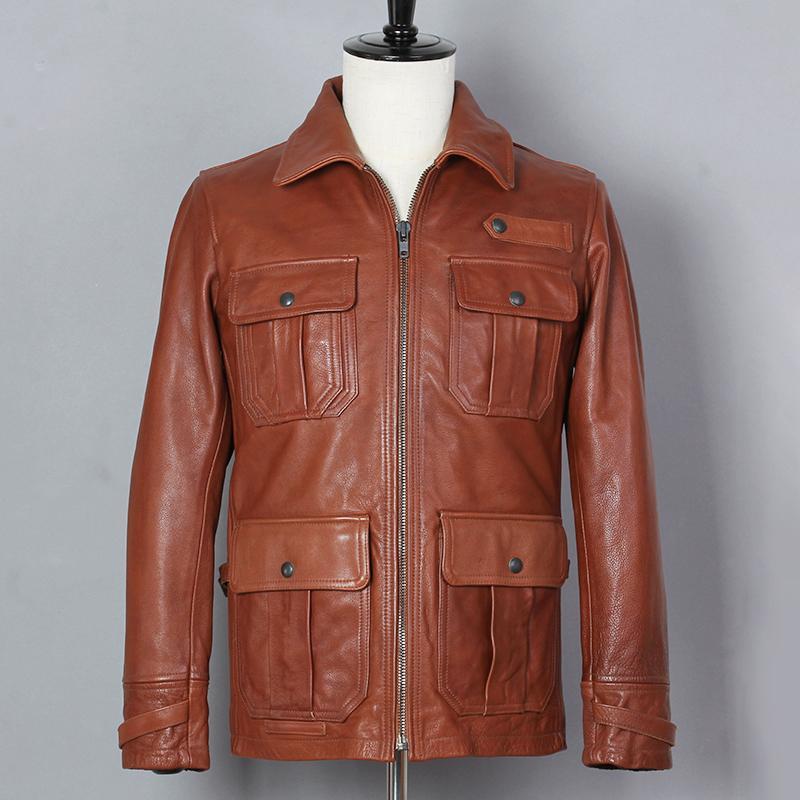 De Hombres 2019 Brown Chaqueta Moda Vintage Genuino Cuero Compre SOqp7xx a3acab605713