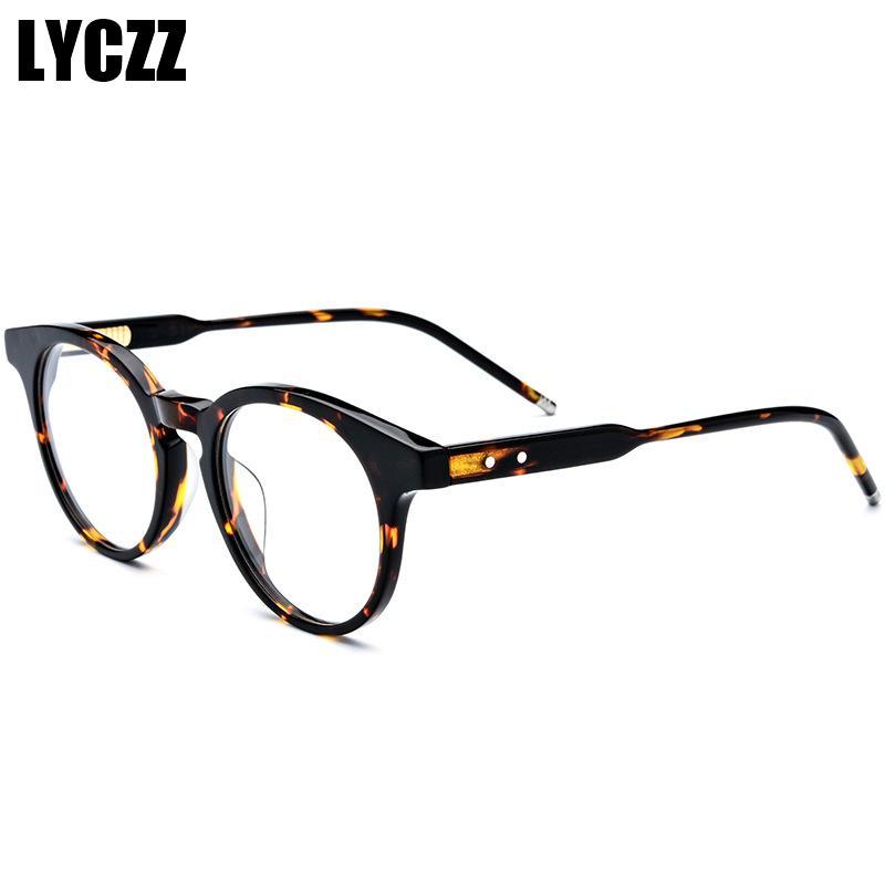 0bcbdde30 Compre LYCZZ Leopardo Retro Óculos De Armação Mulheres Homens Marca Única  Estereoscópico Placa De Óculos Masculino Feminino Lente Clara Óptica Oculos  De ...