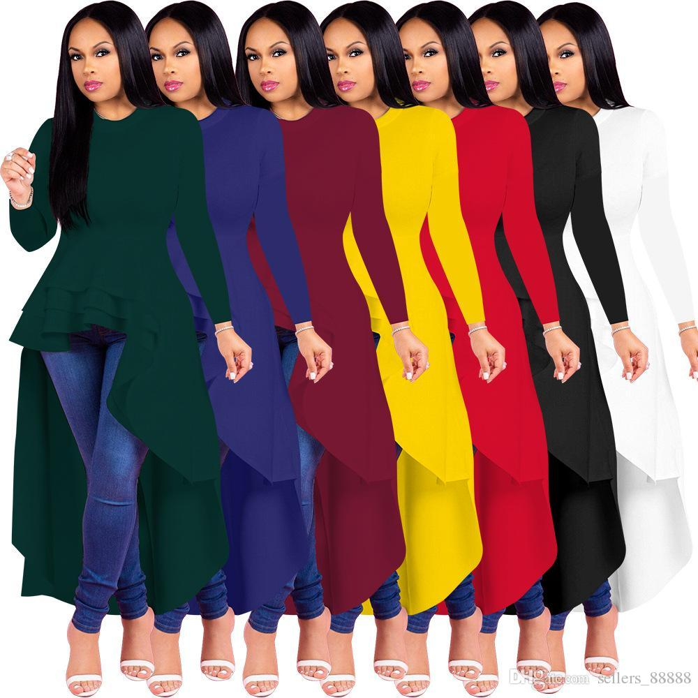 203eb9b4fe8b9c Women Round Neck Long Sleeve Dress High Low Hem Irregular Blouse Tops  Ruffles Dresses Slim Long Clothings Size Plus 3XL Lace Dress Black Dresses  From ...