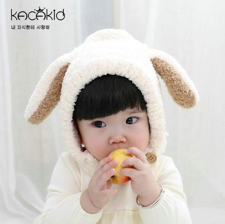 2019 Cute Baby Rabbit Ears Warm Hat Infants Toddler Winter Baby Hat Beanies  Cap With Hooded Earflap Children Baby Hats From Angel childhood 62c1229ee1e