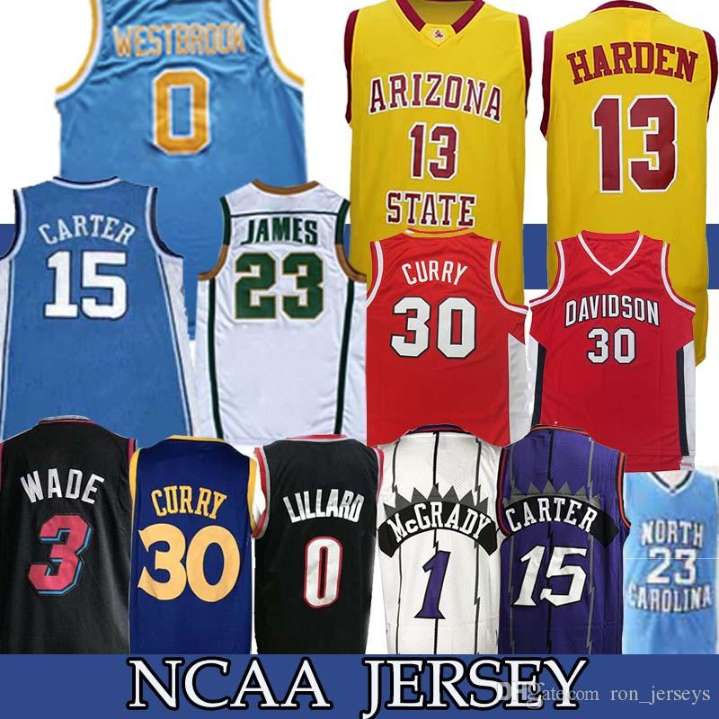 NCAA 13 Harden 30 Trikot 15 CARTER James 0 Westbrdok Lillard College 23 Michael Basketball Wear