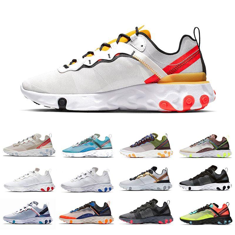 Nike react Element 55 Zapatillas de running React Element 87 Volt 55 Game Royal con costuras en relieve para mujer y hombre Zapatillas 55s Blue Chill