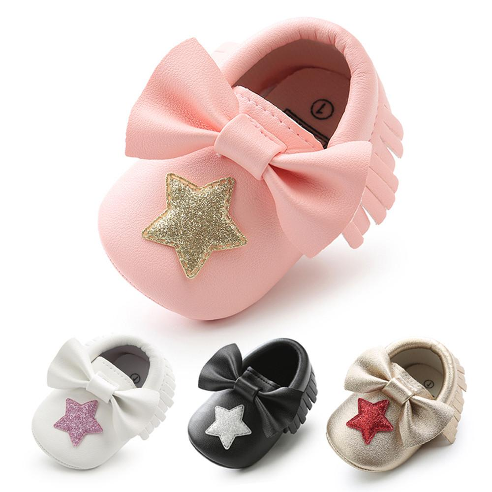 Baby Girl Sequins Bowknot Star Tassel Fashion Toddler First Walkers Kid Shoes All Covered Rhinestones Big Bow Baby Cirb Shoes