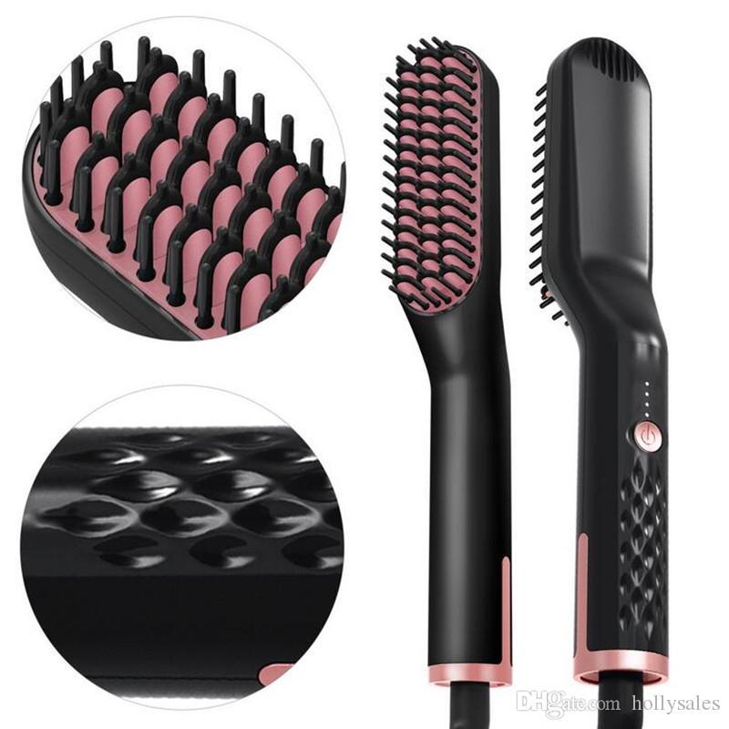Ceramic Hair Straightener Brush Fast Straightening hair Electric Comb Flat Iron Faster Straightening Beard Comb For Man Woman Straightener