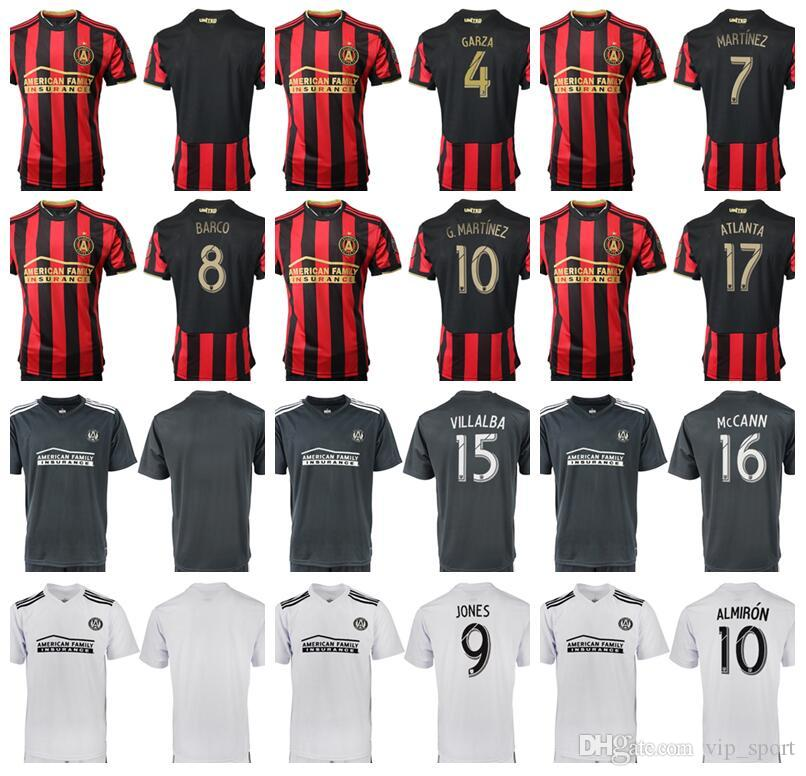 reputable site 5b7f2 7793f Atlanta United Jersey FC MLS Soccer 10 ALMIRON 7 MARTINEZ 4 GARZA 8 BARCO  15 VILLALBA Football Shirt Kits Custom Name Number