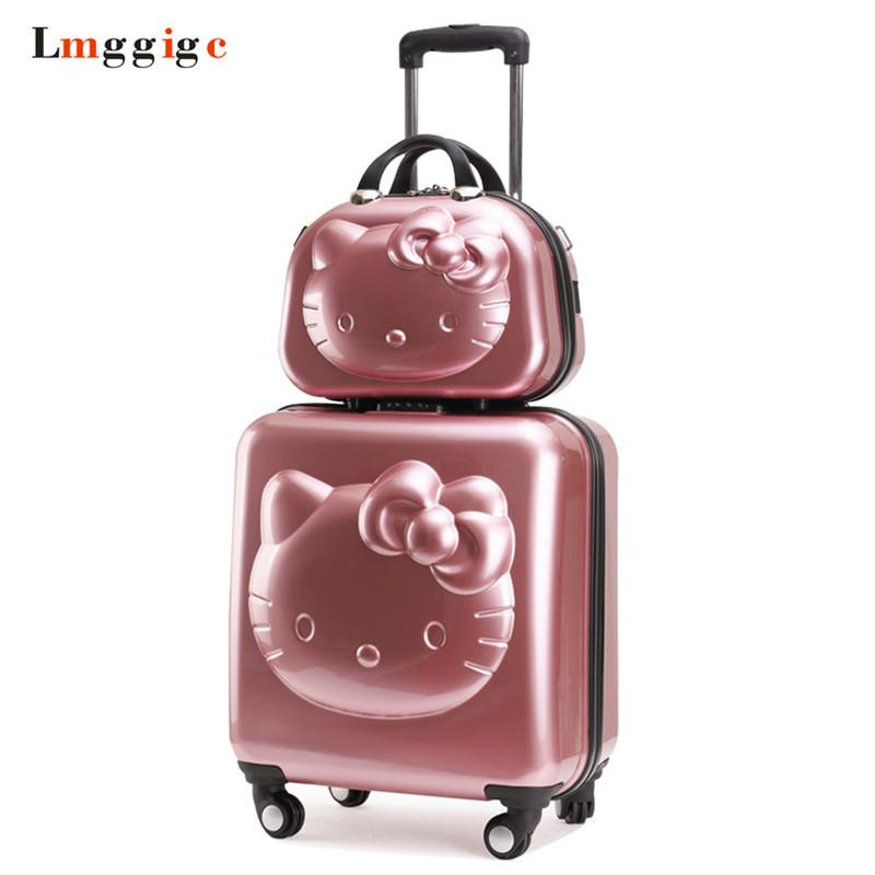 c61c244b0 Kids Hello Kitty Suitcase Bag Set,Women Luggage,Gift For Children ,Cartoon  Rolling Travel Box,Universal Wheel ABS Trolley Case Briefcase Holdall From  ...