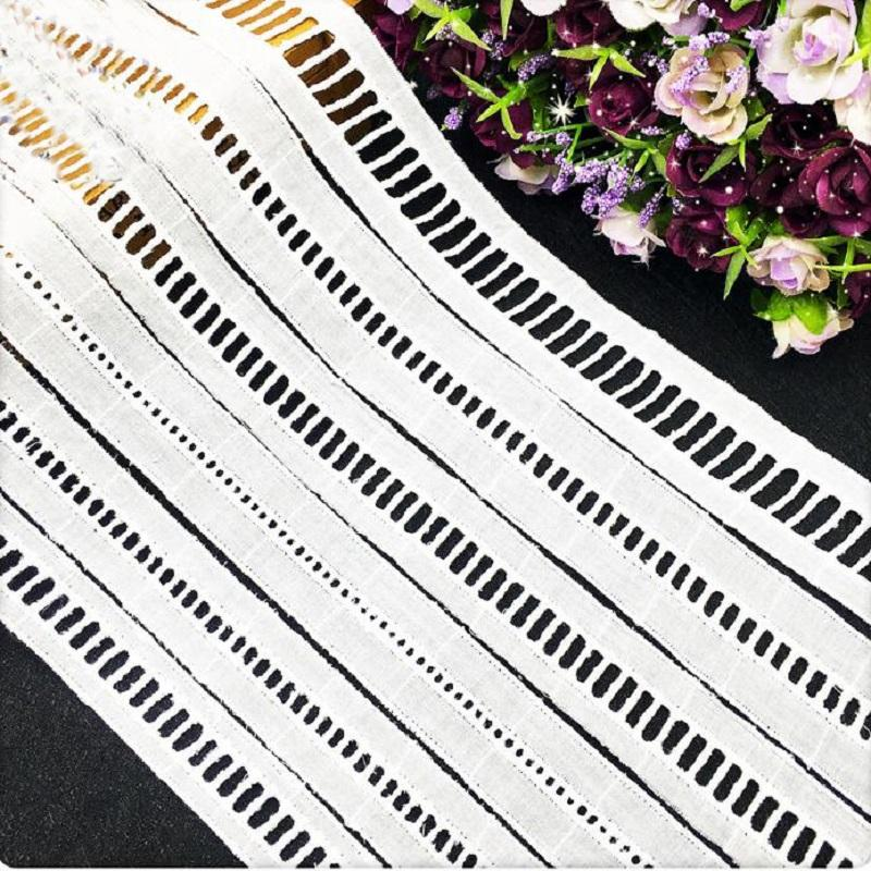 Wide 2.1/3/3.5cm cotton polyester Lace Trim Ribbon Apparel Sewing/Fabric DIY craft Garment Décor stairs checks white
