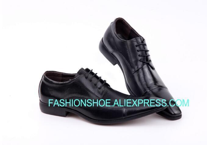 320e5e242 Compre Zapatos Formales Negros De Negocios Cuero Genuino Hombres Traje  Zapatos De Vestir Cuero De Vaca Tamaño Grande Euro 39 46 A  117.76 Del  Facebooks ...