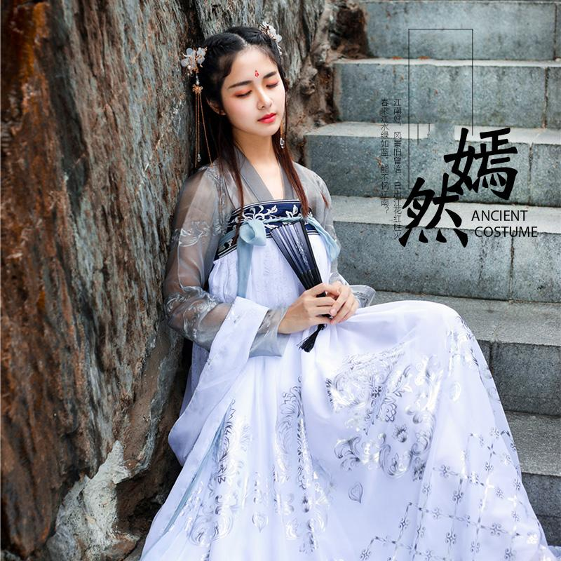 2019 New Embroidered Hanfu National Costume Ancient Cosplay Han Tang Women Chinese Folk Dance Clothes Lady Stage Dress DWY1904