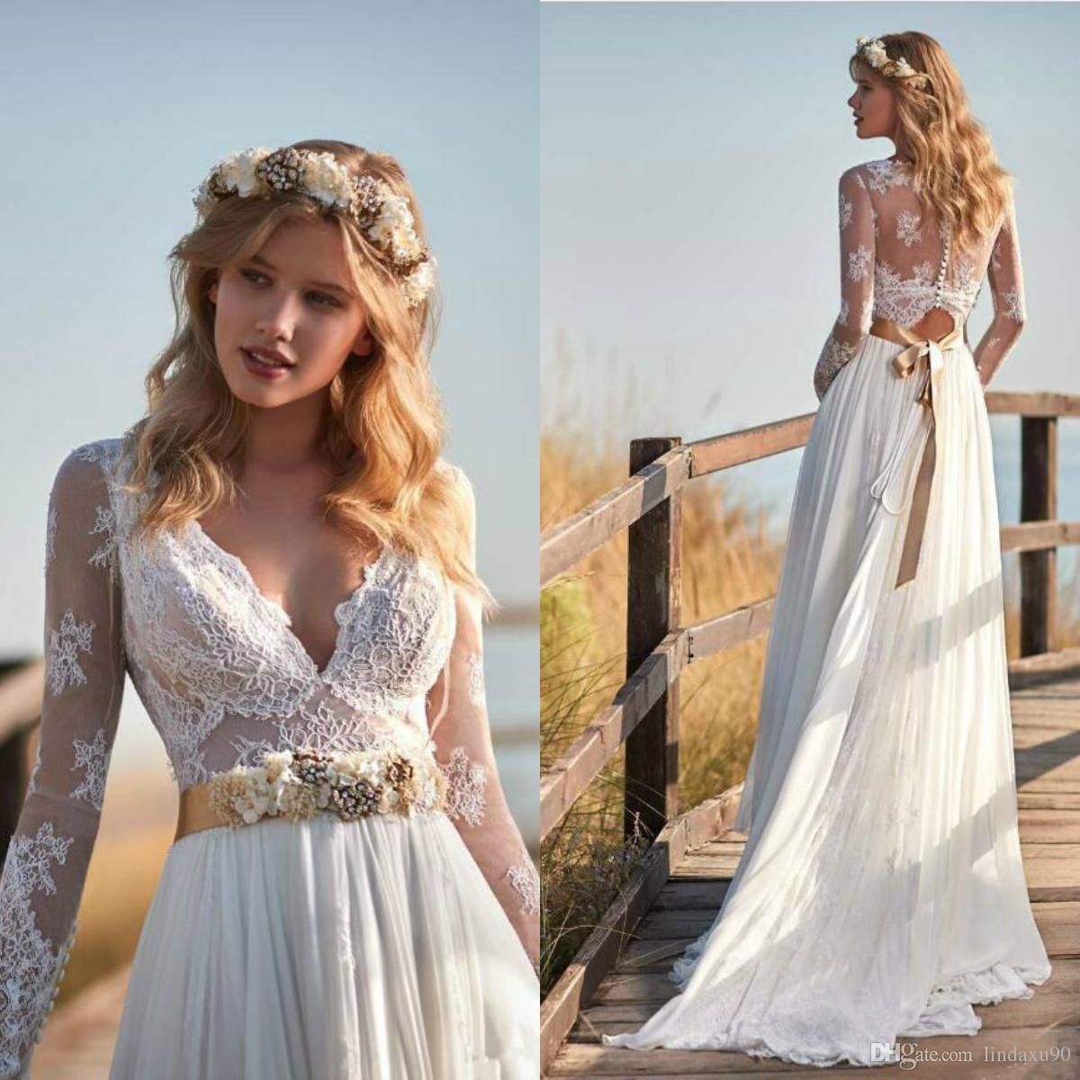 Discount Vintage Chiffon Lace Beach Wedding Dresses Long Sleeve