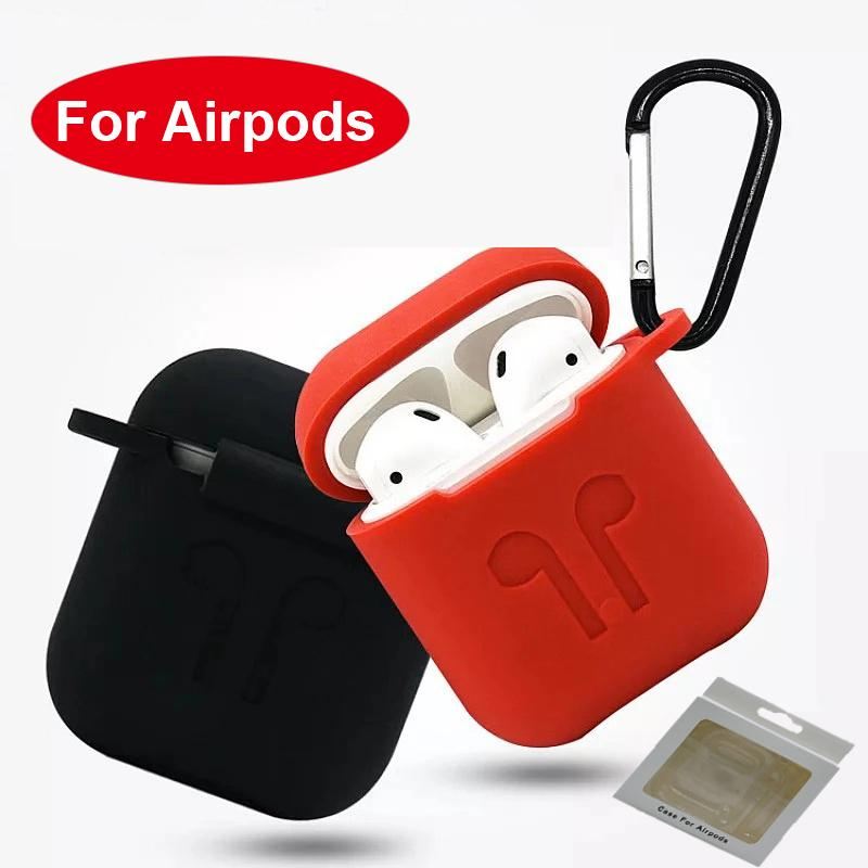 half off 18be3 a46d9 3MM Silicone For Apple Airpods Case Protective Anti- lost Airpod Charging  Case Red Black Skins Cover Airpods w1 Air pod Cases Retail Package
