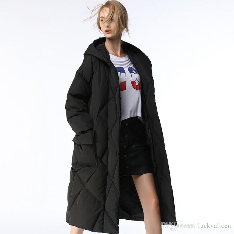cab7a7259 Winter Down Parkas Long White Duck Down Black Thick Down Coat Warm Ladies  Parka Outerwear With Hooded P04