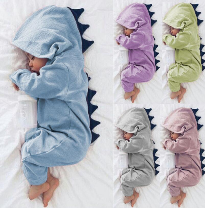 9a955f0ae2d Kids Boy Girl Dinosaur Hooded Romper Animal Jumpsuit Outfit Newborn ...