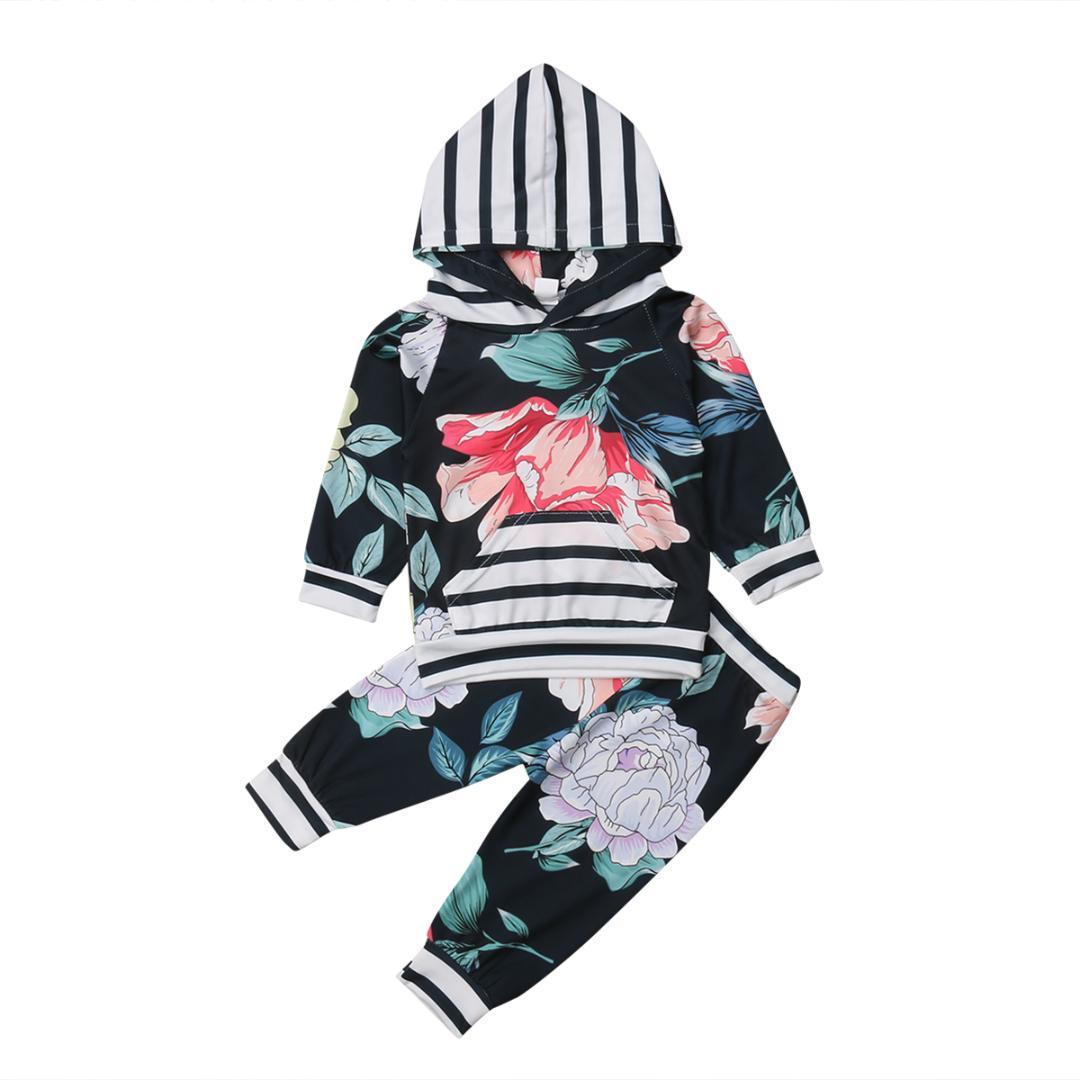 fc1ffa4b20022 Autumn Baby Girl Infant Clothes Sets Floral Striped Hooded Tops ...