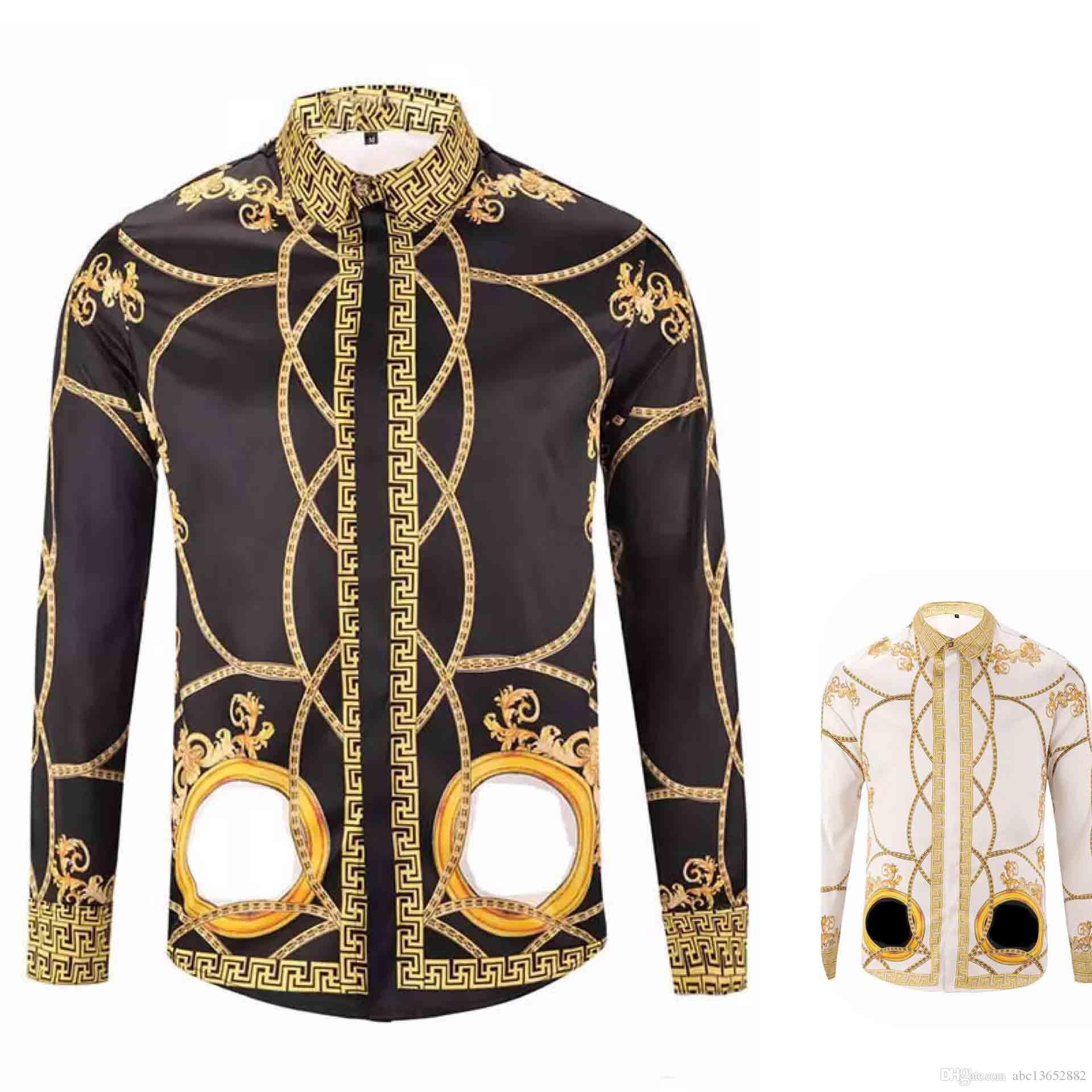 93a99d0757 18-19 Autumn winter Harajuku Medusa gold camisa hawaiana chain Dog Rose  print shirts Fashion Retro floral sweater Men long sleeve tops shirt