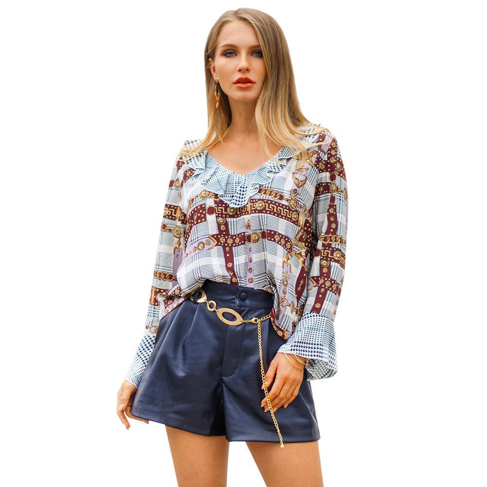 0460e3cd1d59f Free Ship 2019 Spring Women V-neck Ruffle Print Shirt Casual Loose ...