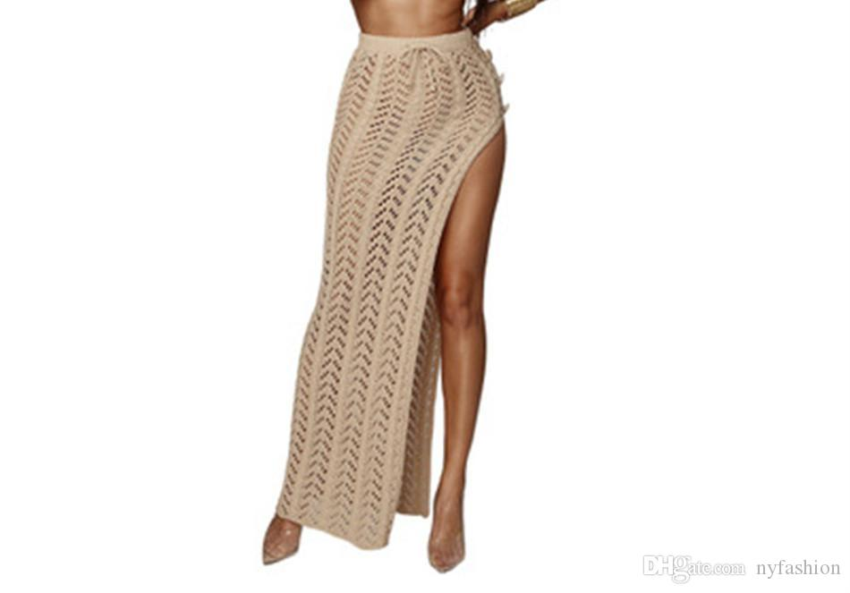 2019 Womens Summer Beach Side Split Long Skirt Hollow Out Knitted