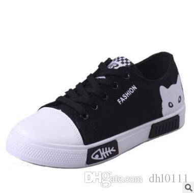 35317ec723 Women Flat Cartoon Canvas Shoes 2019 New Summer White Lace Up Student Board  Shoes Ladies Casual Shoes Female Sneakers White Shoes Wedges Shoes From  Dhl0111