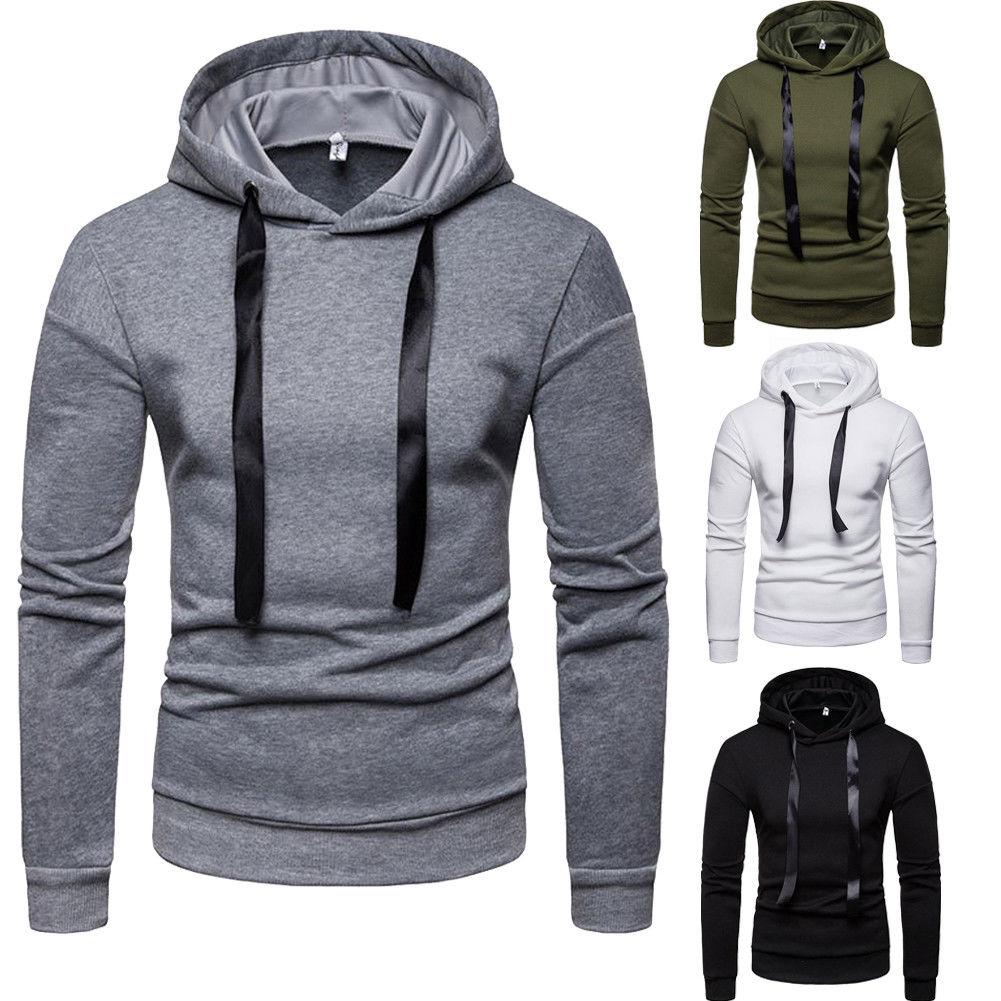 Winter Men's Hooded Hoodies Sweatshirt Ribbon Drawstring Hooded Jumper Outwear Coat Jacket Tops Sports Tracksuit