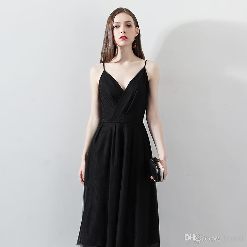 official photos c22d2 80967 Abito da cocktail nero senza spalline con un abito lungo sexy per la nuova  festa del 2019 e festa di compleanno