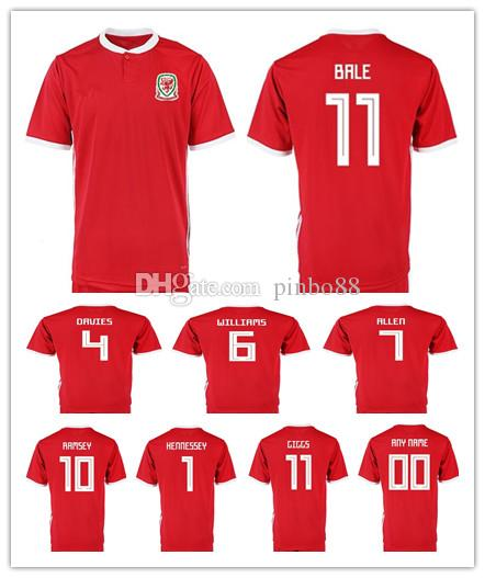 ce2bd8f6590 2019 2019 Wales Soccer Jersey 10 AARON RAMSEY 11 GARETH BALE ALLEN TAYLOR  WARD 9 ROBSON KANU 6 WILLIAMS Home Red Customize Football Shirts From  Pinbo88