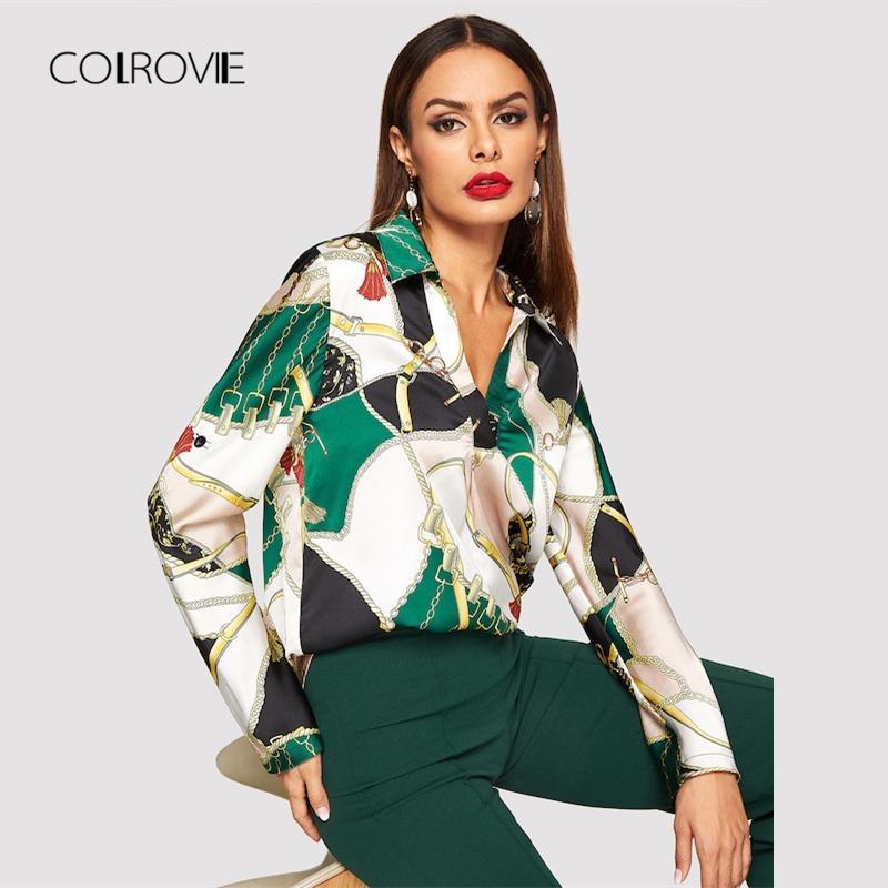 b3a6664097 Compre COLROVIE Eqüestre Impressão Collared Com Decote Em V Camisa De Cetim  Blusa Roupas Femininas 2018 Moda Inverno Casual Top Office Blusa Das  Senhoras De ...