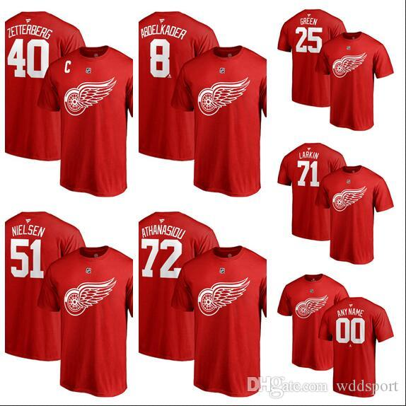 new style e9491 75494 Custom Men s Detroit Red Wings Andreas Athanasiou Fanatics Branded Red  Authentic Stack Logo Name & Number T-Shirt