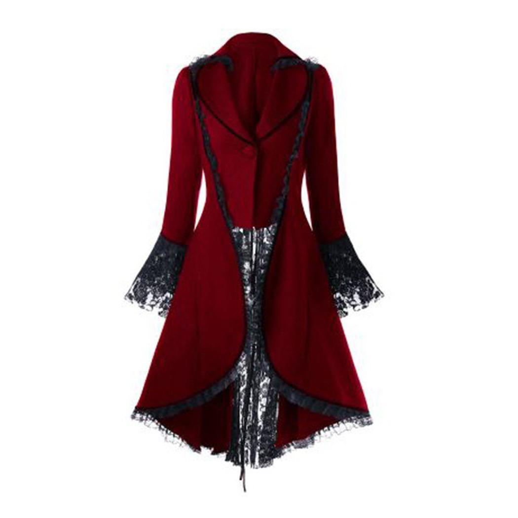 2019 NEUE Gothic Style Frauen Retro Steampunk Flare Sleeve Frack Lace Up Verband Trim Mantel Revers Jacke Viktorianischen Punk Button Mäntel