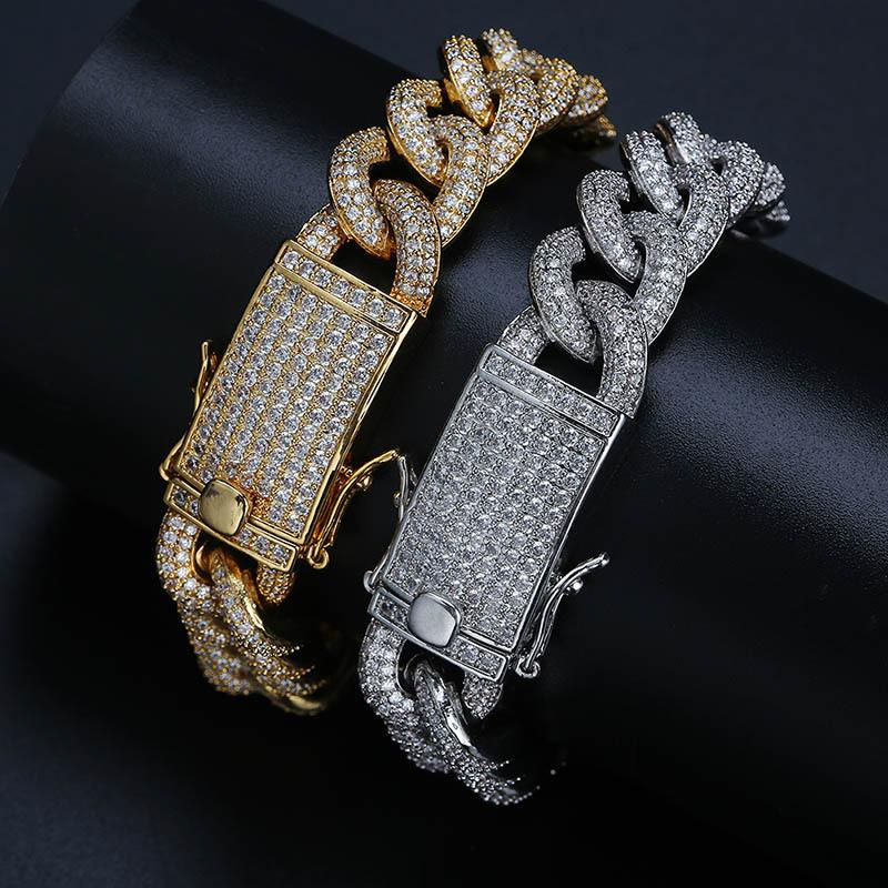 Man Hiphop Gold Chains Full Diamond Hip Hop Jewelry 14K Gold Link Chains Ice Out Cubic Zirconia Mens Silver Bracelet