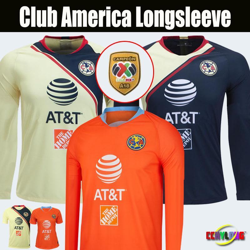 online retailer 08d0b e51cd Perfect Club America Third Long Sleeve 2018 2019 Mexico LIGA MX Soccer  Jerseys Home Away 18/19 Apertura A18 CAMPEON Football shirts