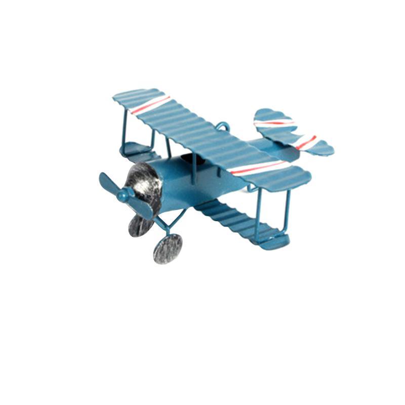Modelo biplano do vintage mini estatuetas para a decoração da casa de metal modelo de avião de ar de ferro de avião crianças quarto pendurado decoração presente dos miúdos cor aleatória