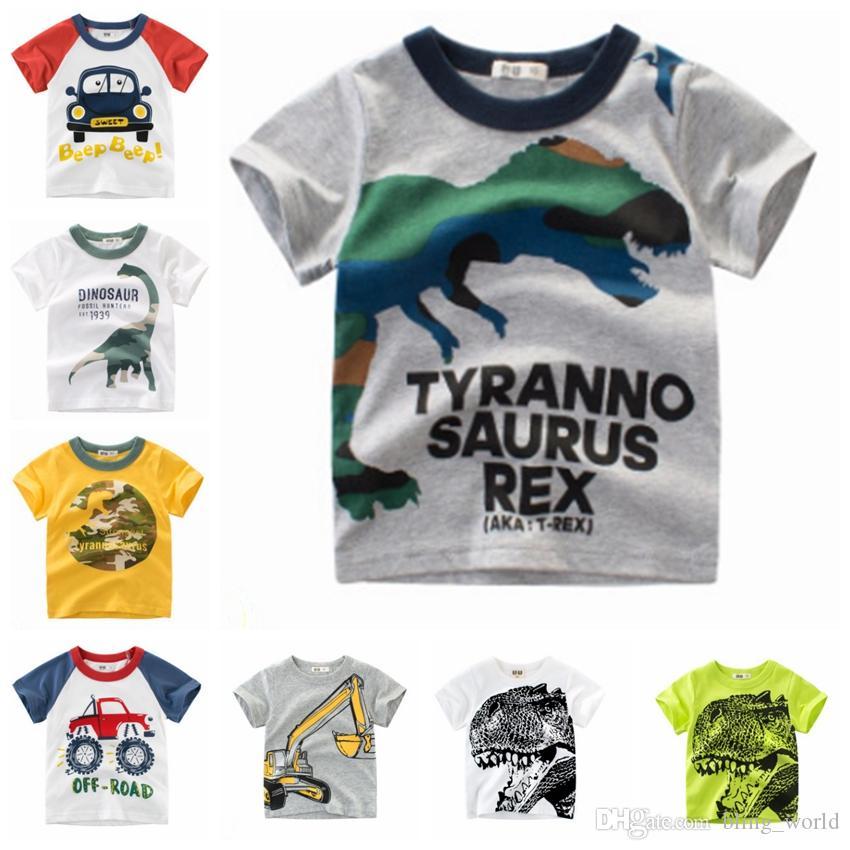 09b8b7c84627a Acheter Bébé Garçon Chemises Dinosaure Imprimé Enfants Tees 100% Coton Enfants  T Shirt À Manches Courtes Garçon Tops D été Vêtements Pour Enfants 15 Styles  ...