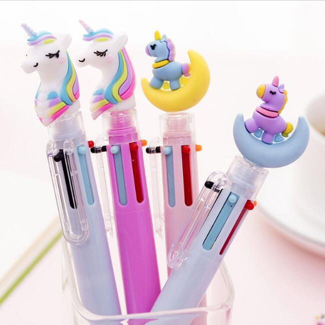 6 colors in 1 pigs unicorn horses ballpoint pens creative multi color press pens ballpoint pens school office stationery gifts supplies