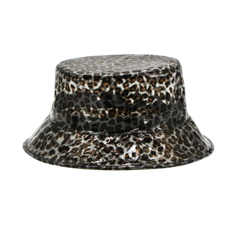 87b665de0399f Summer Transparent Women's PVC Leopard Small Brim Bucket Hat Ladies Beach  Visor Hat Waterproof Rain Cap Plastic Wide-brimmed