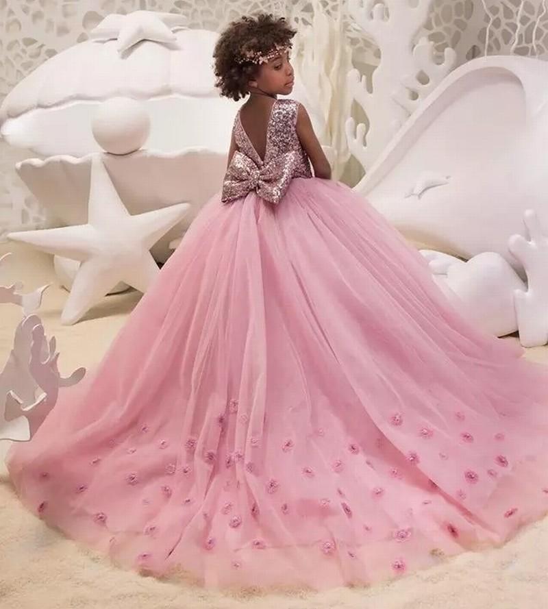 aff2db820 Compre Falda Con Lentejuelas Y Falda De Tul De Jewel Niñas Vestidos  Formales Volantes De La Mano De Mand En El Tren Con Arco Vestidos De  Desfile De Chicas ...