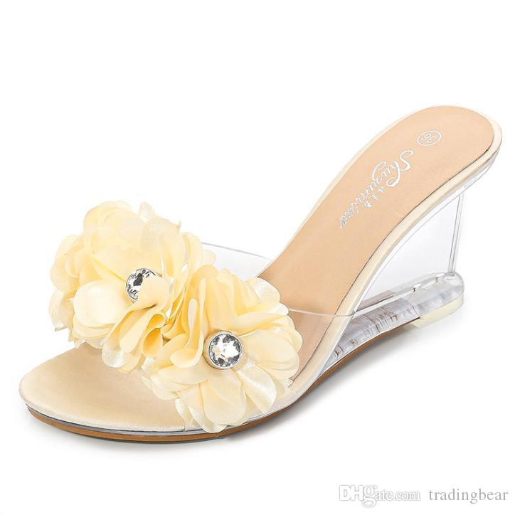 size 34 to 43 adorable flower rhinestone wedge heels sandals PVC transparent clear heels slipper designer slides tradingbear