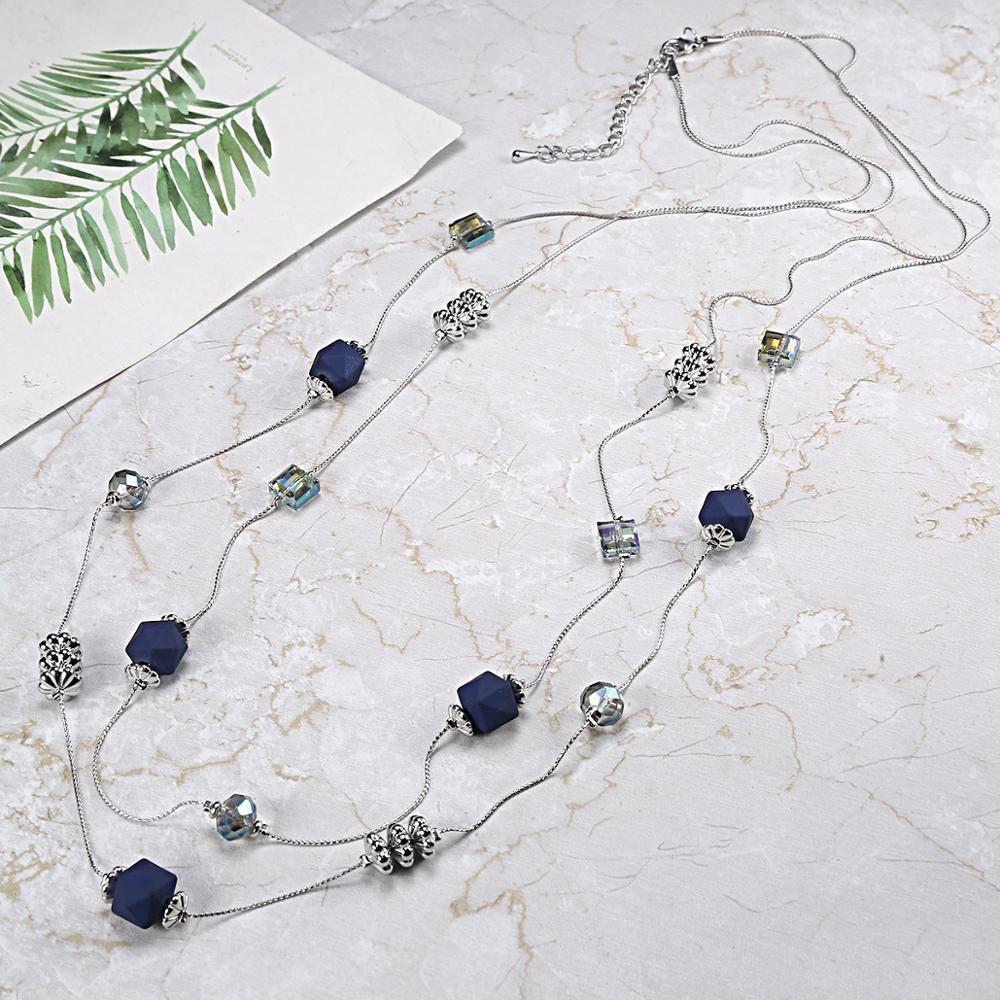 Zarif Boho Mavi Boncuk Kolye Çift Katmanlı Zincirleri Reçine Taş Boncuk Kolye Kolye Bildirimi Takı Kostüm Aksesuarları