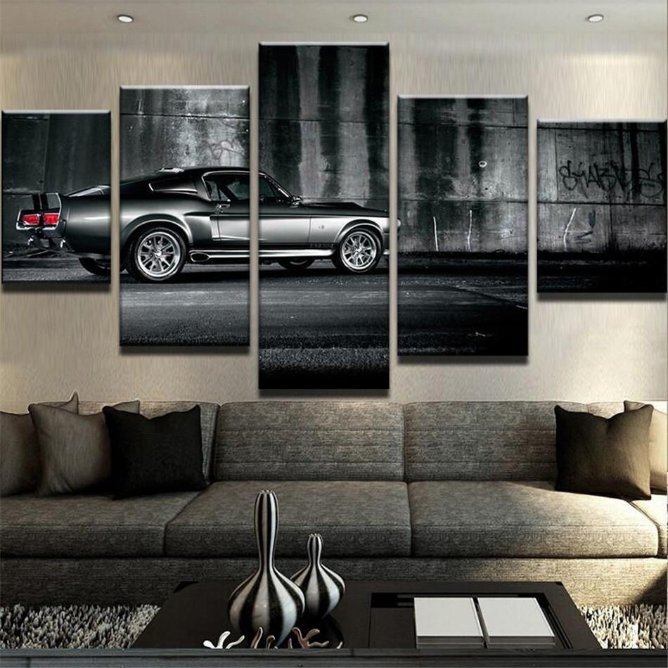 Gt500 Sur Nouvelle Sans Hd Mustang Cadre Ford Pièces Impression Shelby Toile Décoration Peinture Encadré Art 5 35ARLq4j