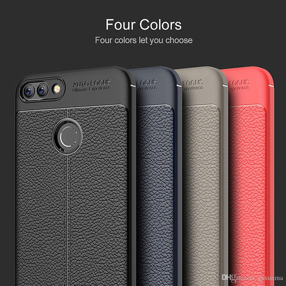newest a804d e42c1 Huawei P Smart Case P Smart Cover TPU Silicone Litchi Pattern Bumper Soft  Protective Back Cover Rugged Case for Huawei P Smart